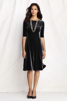 Women's Elbow Sleeve Velvet Dress from Lands' End.  For a holiday party?  Gunmetal gray?