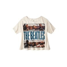 License Juniors The Beatles Crop Graphic Tee ($10) ❤ liked on Polyvore featuring tops, t-shirts, shirts, crop tops, graphic tops, graphic design t shirts, graphic crop tops, graphic print tees and shirt tops