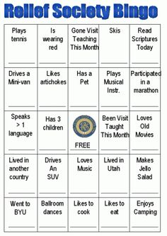Relief Society Bingo | Mormon Share  This Mormon pin is loved at www.MormonLink.com