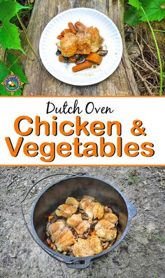 Dutch Oven Chicken Vegetable Dinner Camping Recipe - Need an easy camping recipe? Try this simple chicken vegetable dinner recipe that is made in the dutch oven. It tastes amazing! Switch it up with your own favorite veggies and spices.