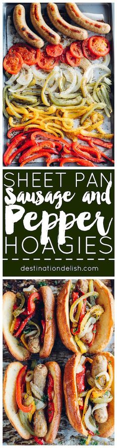 Sheet Pan Sausage and Pepper Hoagies - sweet peppers, caramelized onions, and chicken sausage tucked inside a toasted bun. Sheet pan dinner perfection!