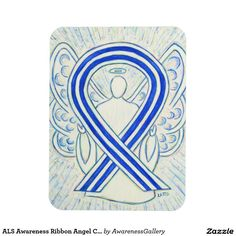 ALS Awareness Ribbon Angel Custom Magnet Gift / Amyotrophic lateral sclerosis (ALS) also known as Lou Gehrig's Disease uses a blue and white ribbon to support awareness for its cause.