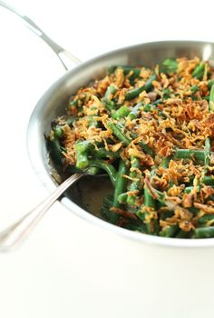 AMAZING Vegan Green Bean Casserole - 10 ingredients, 30 minutes, SO creamy and delicious! #vegan #healthy #minimalistbaker
