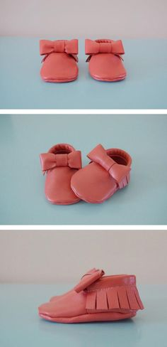 Super-soft handmade leather moccasins in coral pink: baby shoes might not get any more adorable than this. #etsykids