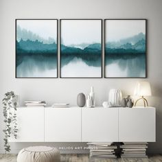 Set Of Three Blue Green Forest Lake Watercolour Landscape Abstract Watercolor Landscape, Green Wall Art, Watercolor Wall Art, Watercolor Print, Art, Forest Wall Art, Panoramic Wall Art, Canvas Art, Cactus Wall Art
