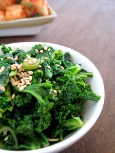 Kale namul - Korean-style side dish made from kale #vegan #vegetarian