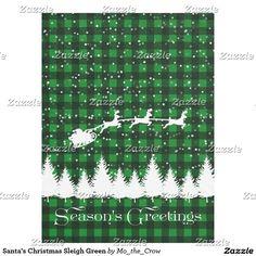 Santa's Christmas Sleigh Green Fleece Blanket