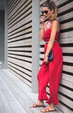 Claudie Pierlot Red Jumpsuit   Hermès Sandals 00b13171db9