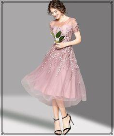ドレス-ミニ・ミディアム ★ワンピース チュール コード 刺繍 ウエスト絞り ドレス 2色(4)