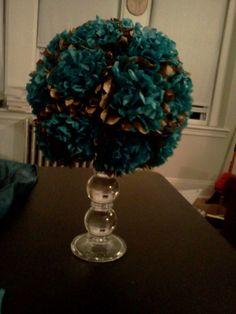 Found on Weddingbee.com  - tissue pomander on glass candlestick