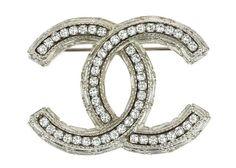 Chanel 13P CC Logo Crystal Brooch