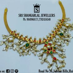 Latest Light Weight Kundhan Necklace At WholeSale Prices! Please Visit Our Store Sri Shankarlal Jewellers At Jubilee Hills Hyderabad. To See Complete Collections Or Visit us at srishankarlaljewe. For any further information Please Contact us 7702434540 Gold Initial Pendant, Initial Pendant Necklace, Ruby Necklace Designs, Jewellery Designs, Gold Jewellery, Ring Designs, Moon Jewelry, Gold Necklaces, Necklace Price