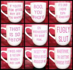 Mean Girls is a classic! It is so FETCH! Gift yourself, a friend, or your group of Plastics one of these mugs to show you are a true Mean Girls fan. Dont end up like Gretchen Weiners (none for you). Pick a quote listed OR customize your own with another favorite Mean Girls quote by messaging me at checkout. -11 oz. White Ceramic Mug (OTHER COLORS AVAILABLE UPON REQUEST)   Customize your quote or choose one of the following...  Im sorry that people are so jealous of me. If youre from Africa…