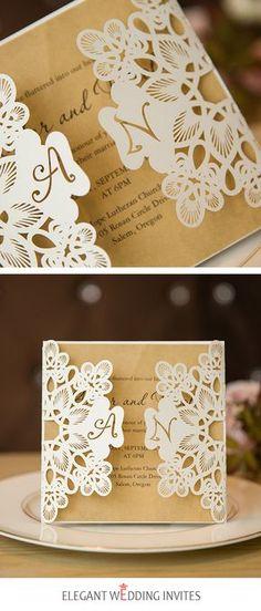 fancy ivory laser cut pocket and kraft invitation for wedding.#wedding#invitation#lasercut#Elegantweddinginvites