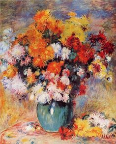 Vase of Chrysanthemums - Pierre-Auguste Renoir