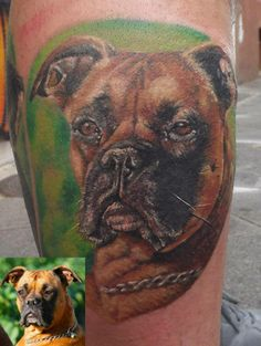 The 20 Best Boxer Tattoo Designs In The World Boxer Dog Tattoo, Dog Tattoos, Sleeve Tattoos, Tatoos, Cool Back Tattoos, Tattoos For Guys, Dog Portrait Tattoo, Boxer Dogs, Boxers