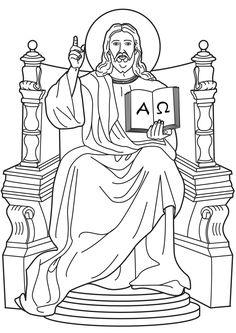 Jesus, King of Kings.  I am the Alpha and Omega Catholic Coloring Page