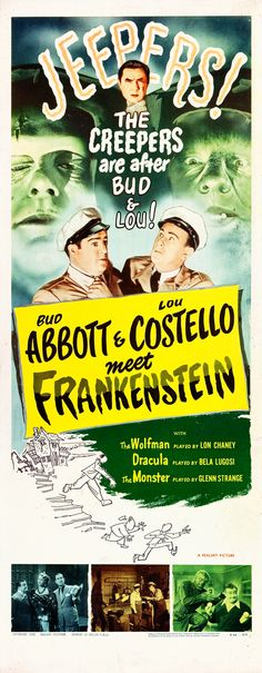 1956 re-release poster for Abbot and Costello Meet Frankenstein starring Bud Abbot, Lou Costello, Bela Lugosi, Lon Chaney Jr., and Glenn Strange as the Frankenstein monster. Classic Movie Quotes, Classic Disney Movies, Turner Classic Movies, Classic Movie Posters, Classic Horror Movies, Horror Films, Old School Movies, Old Movies, Vintage Movies