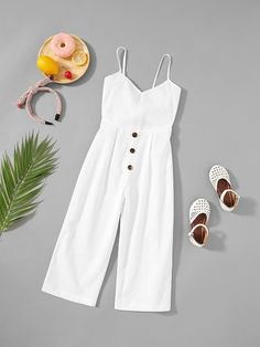 Shop Girls Button Up Front Cami Jumpsuit online. SheIn offers Girls Button Up Fr. - Shop Girls Button Up Front Cami Jumpsuit online. SheIn offers Girls Button Up Front Cami Jumpsuit & more to fit your fashionable needs. Fashion Kids, Girls Fashion Clothes, Kids Outfits Girls, Cute Girl Outfits, Little Girl Fashion, Teen Fashion Outfits, Cute Summer Outfits, Cute Casual Outfits, Pretty Outfits