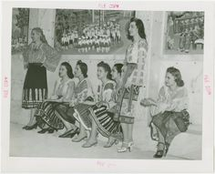 Romania Participation - Women in traditional dress at dedication New York Public Library, Traditional Dresses, Romania, 1940s, History, Blouse, Painting, Women, Historia
