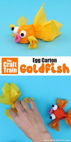 Cute goldfish craft for kids made from an egg carton. This is a fun upcycling id… Cute goldfish craft for kids made from an egg carton. This is a fun upcycling idea, and great for an ocean or pet theme! Kids Crafts, Summer Crafts, Toddler Crafts, Arts And Crafts, Craft Activities For Kids, Craft Projects, Upcycled Crafts, Egg Box Craft, Fabric Crafts