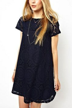 Sweet Round Neck Lace Dress in Deep Blue