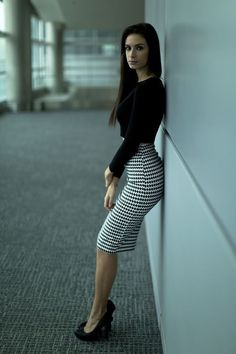 Long Tight Houndstooth Pencil Skirt Black Blouse and Black Stiletto High Heels