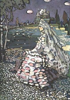 Russian costume in painting. Wassily Kandinsky. Russian Beauty in a Landscape. 1905. #art #painting #Russian #costume