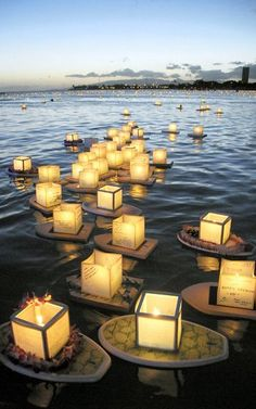 Floating lanterns make their way from the shore out to the breakers as thousands of people launch their lanterns with heartfelt messages to loved ones in the Lantern Floating Hawaii event at Ala Moana Beach Park. Hawaii Wedding, Wedding Day, Wedding Attire, The Places Youll Go, Places To Go, Floating Lanterns, Lantern Festival, How To Make Lanterns, Photo A Day