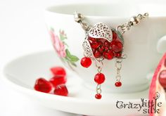 Red Necklace Valentines Gift Glass Pendant by CrazyLittleSilk