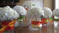 Simple Hydrangea Centerpiece | Float a single blossom at the bottom of the vase and display.