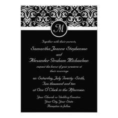 Black Grand Insignia Wedding Invitations