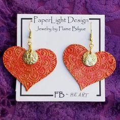 Handpainted Primary Rainbow Sacred Heart Dangle Earrings