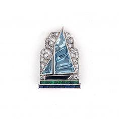 Art Deco diamond and gem-set sailboat clip by Cartier