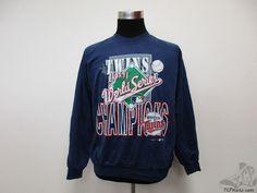 Vtg 90s Garan Minnesota Twins 1991 World Series Crewneck Sweatshirt sz XL MLB #Garan #MinnesotaTwins