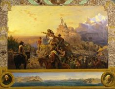 Westward the Course of Empire Takes Its Way (study), by Emanuel Leutze, 1861 - oil on canvas. Location: Smithsonian American Art Museum, Washington, D. Poster Prints, Framed Prints, Canvas Prints, The Course Of Empire, Oil Painting Gallery, Westward Expansion, Into The West, England, Online Painting