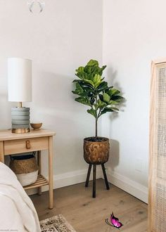 Fake Fiddle Fig Leaf Tree Potted Floor Plant - 3' Tall Fiddle Leaf Fig Tree Plant | Artificial Plants in Pots | Afloral.com<br> Fig Tree Plant, Fig Leaf Tree, Fig Leaves, Fake Plants Decor, House Plants Decor, Plant Decor, Artificial Floor Plants, Plant Basket, Bamboo Basket