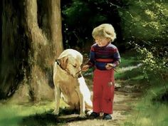 I Love Donald Zolan's paintings - little boy with dog