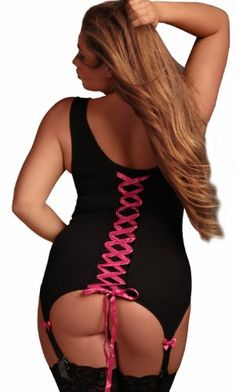 Plus Size Lace Garter Tank with Lace Up Ribbon Back $39.95