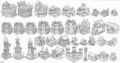 ktk: isometric roman buildings Building Art, Building Drawing, Building Concept, Environment Concept Art, Environment Design, Prop Design, Game Design, Low Poly, Fantasy Map Making