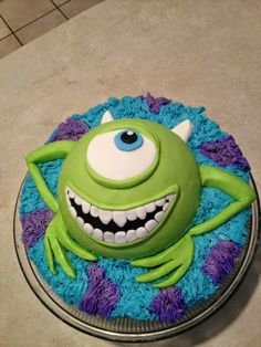 Monsters Inc cake made with whipped icing Freehand cakes created