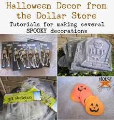 How to use dollar store stuff to decorate for Halloween. Several great {cheap} ideas. www.houseofhepworths.com