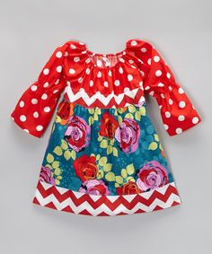 Take a look at this Red & Blue Vintage Roses Dress - Toddler & Girls on zulily today!