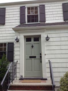 BM Swiss coffee (body), BM Iron Mountain (shutters & garage door), and Farrow & Ball light blue for the door