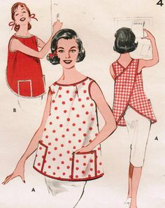 1960s Butterick 9193 Vintage Sewing Pattern Misses' Pull-Over Apron Size Medium
