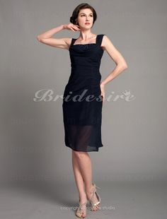 Sheath/ Column Chiffon Knee-length Straps Mother of the Bride Dress - $88.99