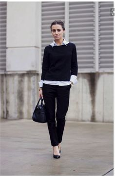 August 2016 add a bit of brightness with a white blouse as a base of classic black