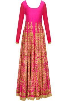 Pink embroidered anarkali set with gold churidaar and beige dupatta available only at Pernia's Pop-Up Shop.