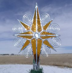 Bethlehem Star Stained Glass Christmas Tree Topper