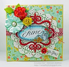 """A Kept Life: card made using Serendipity Stamps """"June"""" rubber stamp."""